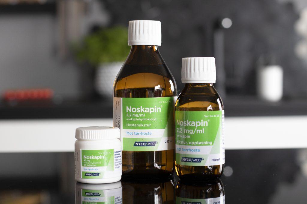 Noskapin finnes både som mikstur og som tabletter.