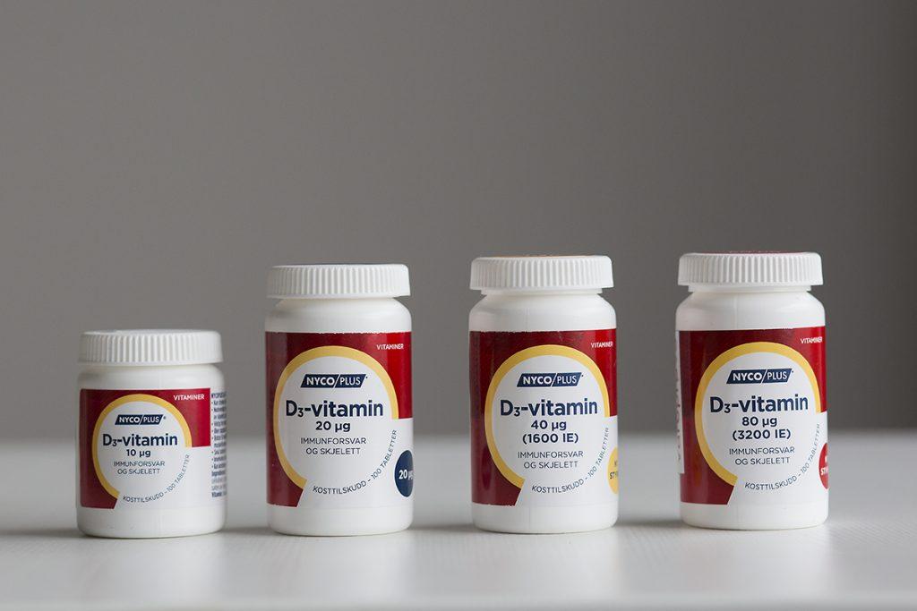 Nycoplus Vitamin D3-vitamin finnes i ulike styrker og vegansk reseptfritt på apotek.